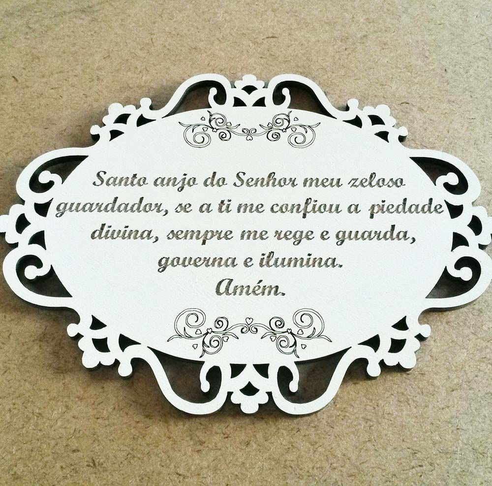 Placa oval mdf branco hz arabesco 20x15 cm Oração Santo Anjo
