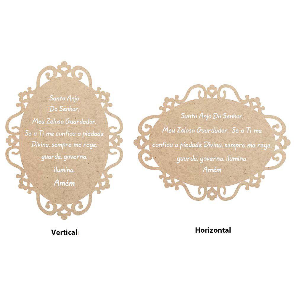 Placa oval mdf cru modelo arabesco 14 x 10,5 cm. Oração Anjo da Guarda vazada Opção Vertical ou Horizontal