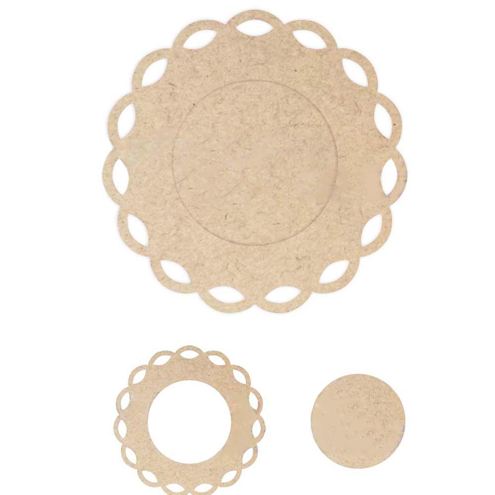 Placa redonda 35 cm borda vazada com fundo mdf artesanato