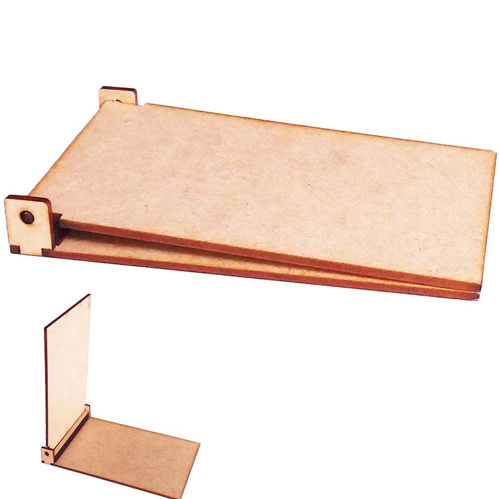 Porta bloco caderneta recado anotação mdf tampa articulada