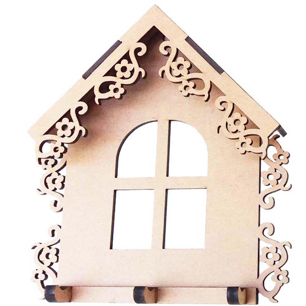 Porta chave mdf casinha floral provençal 17cm arte decoração