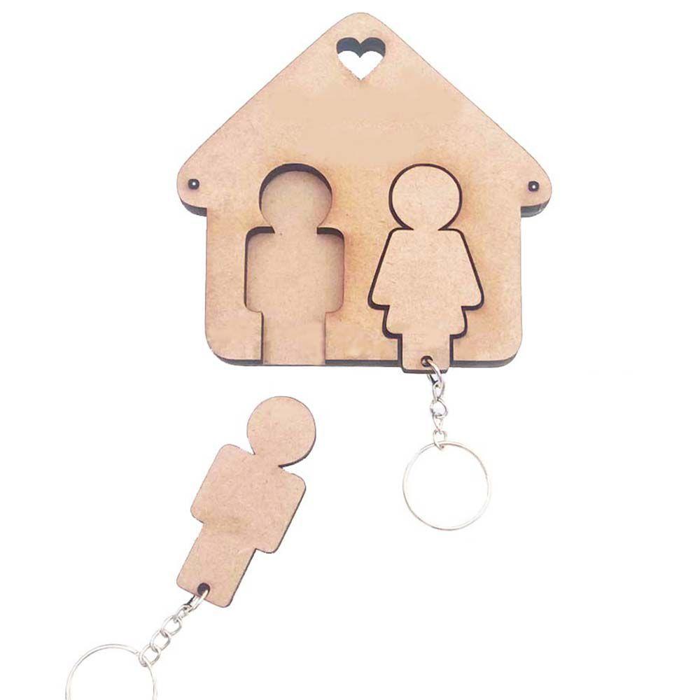 Porta Chave mdf chaveiro casinha com bonequinhos casal