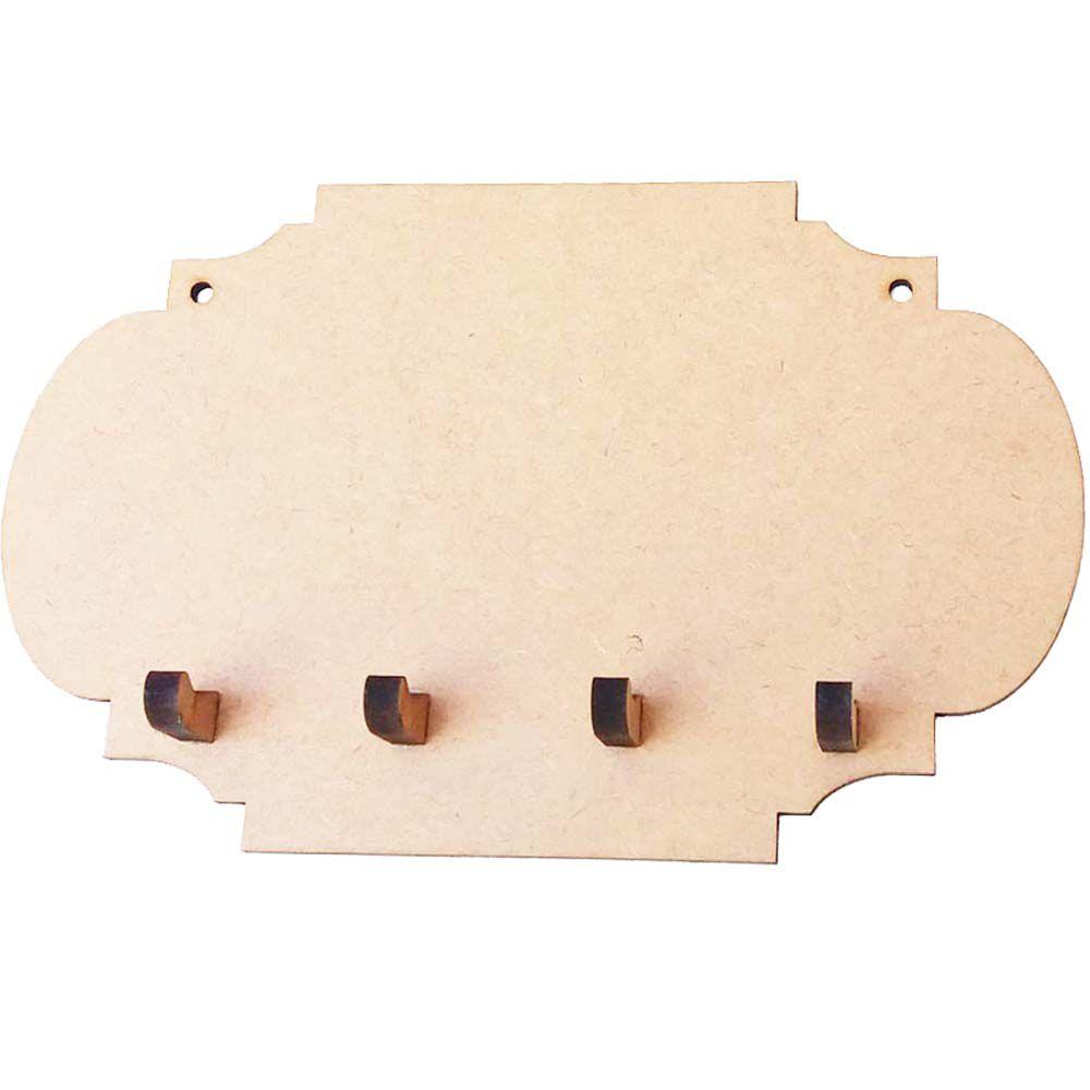 Porta chave mdf modelo moldura com 4 pinos