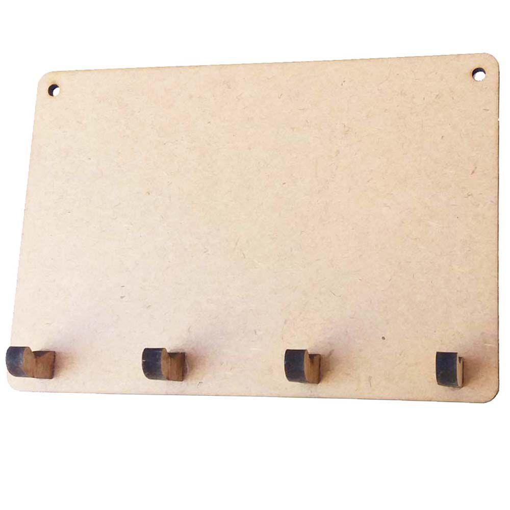 Porta chave mdf modelo retangular com 4 pinos