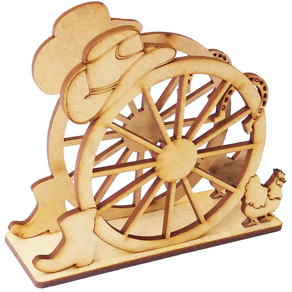 Porta guardanapo mdf roda carroça country bicho  fazendinha