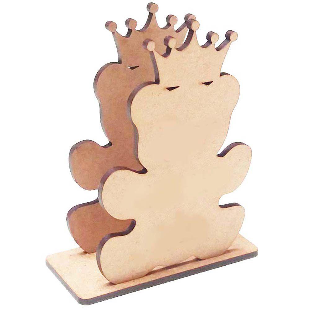 Porta guardanapo mdf urso ursinho príncipe com coroa rei