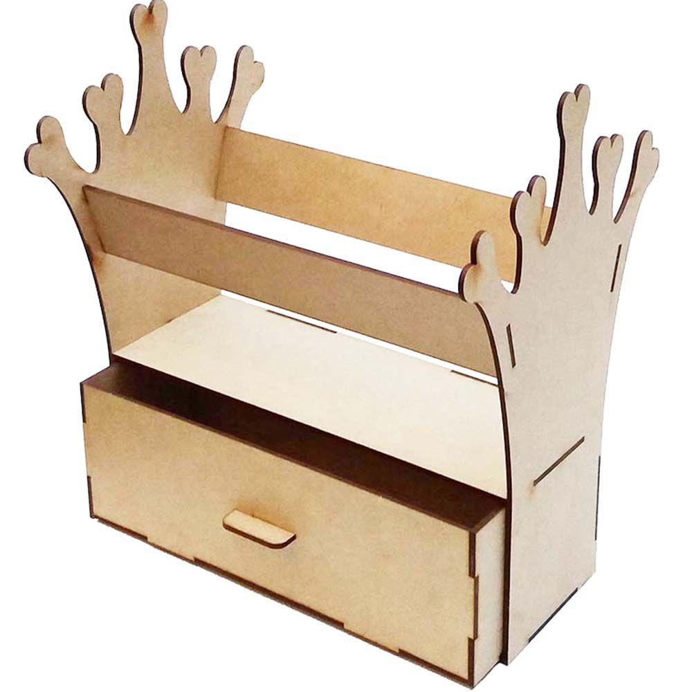 Porta tiara coroa princesa suporte expositor mdf com gaveta