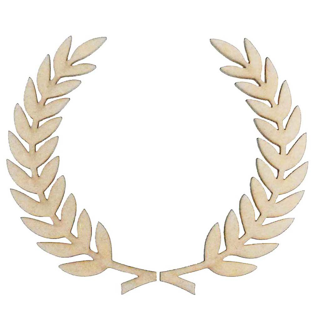 Recorte Coroa de Louro mdf  20x24 cm par de ramo de trigo