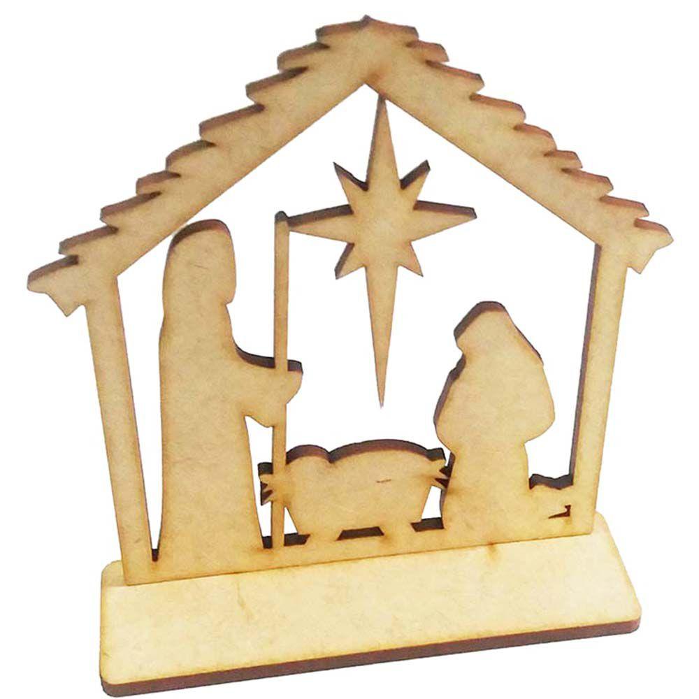 Sagrada família mdf 10 cm artesanato religioso crisma natal