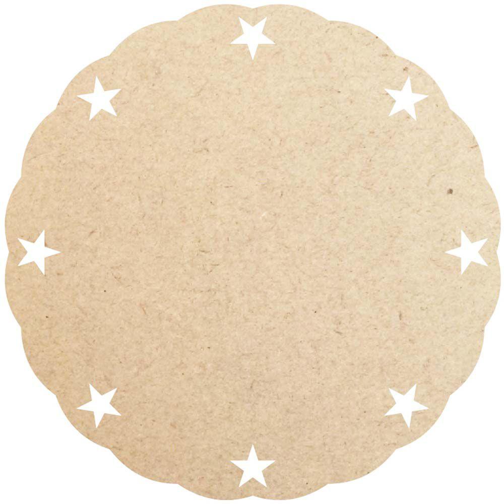 Sousplat 30 cm estrela borda ondulada supla disco mdf