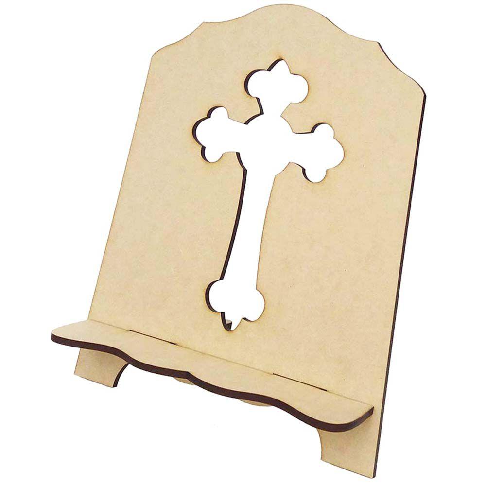 Suporte porta bíblia mdf P cruz vazada artesanato religioso