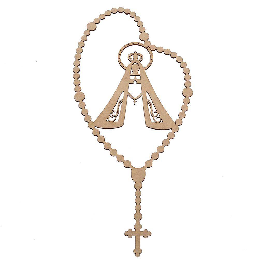 Terço Nossa Senhora 50 cm mdf 3 mm rosário arte religioso