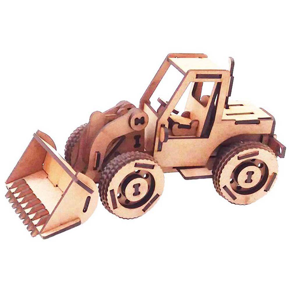 Trator Pá Carregadeira Quebra Cabeça 3D mdf coleção veículos