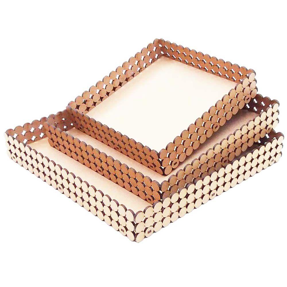 Trio de Bandeja mdf quadrada modelo pérola decoração casa