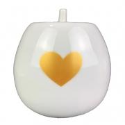 Açucareiro  250g em porcelana com corações dourados,  coleção exclusiva Golden Mary