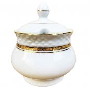 Açucareiro Branco, em porcelana c/Filetes Ouro, 300g, coleção exclusiva Queen