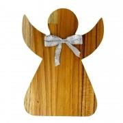 Anjo Decorativo em madeira teca, laço prata, 20cm