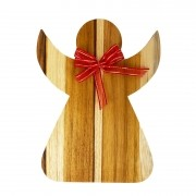 Anjo Decorativo em madeira teca, laço vermelho, 20cm
