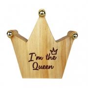 Argola p/Guardanapo coroa c/ponta dourada, I'm the Queen, em madeira de reflorestamento