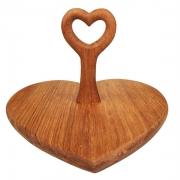 Bandeja Heart c/ Alça em Madeira, 27,5 cm