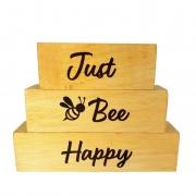 Bloquinhos Just Bee Happy de madeira 16 cm