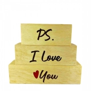 Bloquinhos PS I love you de madeira 16 cm
