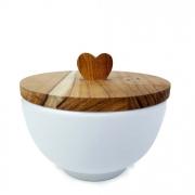 Bowl  branco 400ml, em porcelana  c/ Tampa exclusiva em madeira teca com puxador Heart