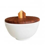Bowl branco em porcelana, 400 ml c/Tampa exclusiva em madeira teca com puxador Home