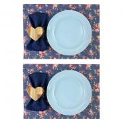 Box Almoço/Jantar Floral, c/ 8 peças, prato porcelana azul candy