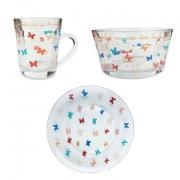 Box Café da Manhã Butterfly c/3 peças em vidro, coleção Butterfly Colors