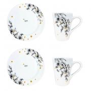 Box Café da Manhã c/2 canecas + 2 pratos sobremesa, em porcelana, coleção exclusiva Garden Bee