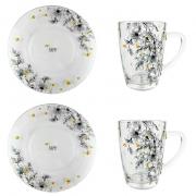 Box Café da Manhã c/2 canecas + 2 pratos sobremesa, em vidro, coleção exclusiva Garden Bee