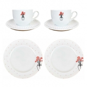 Box Café da Manhã c/2 Xícaras de Chá 240ml c/pires + 2 pratos p/sobremesa 21cm, em porcelana, coleção exclusiva Garden Roses