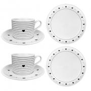 Box Café da Manhã c/2 Xícaras de chá c/pires + 2 pratos p/sobremesa, em porcelana, coleção exclusiva Black & White