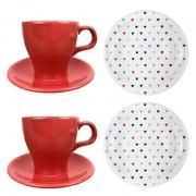 Box Café da Manhã Heart Colors c/2  Xícaras de Chá c/ Pires + 2 Pratos / Sobremesa, em Porcelana