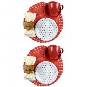Box Café da Manhã Hearts Coral Red c/2 xícaras de chá c/pires 280ml e 2 pratos p/sobremesa em porcelana + roupa de mesa