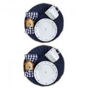 Box Café da Manhã Poções de Amor c/2 canecas 300ml, 2 pratos p/sobremesa em porcelana + roupa de mesa