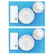 Box Café da Manhã Poções de Amor c/10 peças, 2 xícaras chá 200ml c/pires, 2 pratos de sobremesa em porcelana + roupa de mesa azul claro