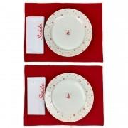 Box Mesa Posta Jantar/Almoço, c/2 Pratos Rasos em Porcelana + Roupa de Mesa, Christmas Saúde