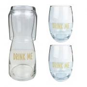 Box com Moringa 500 ml + 2 Copos 460ml Drink Me Gold, em vidro, coleção exclusiva Lettering Golden