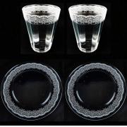 Box Jantar/Almoço c/ 4 peças, Prato Raso em vidro, 25 cm + Copo Americano 190ml, coleção exclusiva Rendas