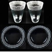 Box Jantar/Almoço c/ 4 peças, 2 Pratos Rasos em vidro 25 cm + 2 Copos Americanos 450ml, coleção exclusiva Rendas