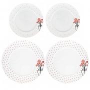 Box Almoço/Jantar c/2 Pratos Rasos 27cm + 2 pratos de sobremesa 21 cm, em porcelana, coleção exclusiva Garden Roses