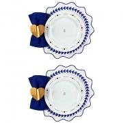 Box Mesa Posta p/Almoço ou Jantar c/8 peças Pratos rasos em porcelana, 25,5 cm + acessórios, coleção exclusiva Poções de Amor