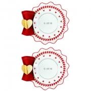 Box Mesa Posta p/Almoço ou Jantar c/8 peças Pratos rasos em porcelana, 25,5 cm + acessórios, coleção exclusiva PS I love you