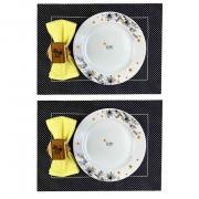 Box p/Almoço ou Jantar c/ 8 peças, 2 pratos rasos em porcelana + roupa de mesa, coleção exclusiva Garden Bee