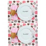 Box p/Almoço ou Jantar Floral c/ 8 peças, 2 pratos rasos em porcelana + roupa de mesa, coleção exclusiva Garden