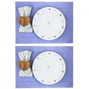 Box p/jantar ou almoço Azul claro mescla poá c/ 8 peças, louças em porcelana, coleção exclusiva Poções de Amor