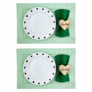 Box p/Almoço ou Jantar Black Heartc/8 peças, 2 pratos rasos em porcelana + roupa de mesa