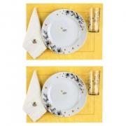 Box p/jantar ou almoço Amarelo c/ 8 peças, louças em porcelana, coleção exclusiva Garden Bee